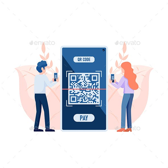 People Use Smartphone Scanning QR Code to Payment