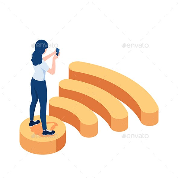 Isometric Woman Standing on Wifi Symbol and Using Smartphone