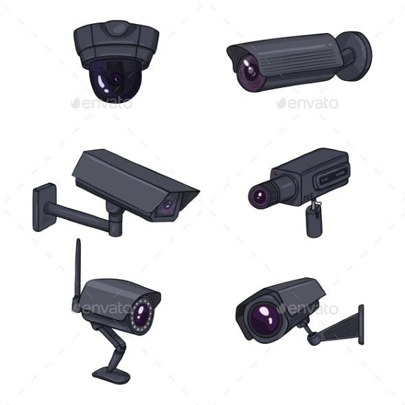 Set of CCTV Illustrations - Miscellaneous Vectors