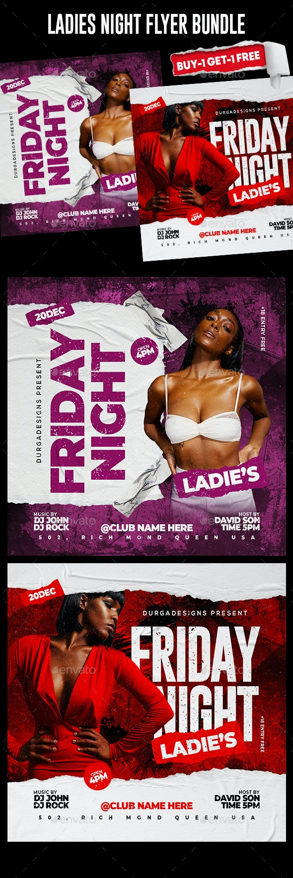Night Club Flyer Template Bundle - Events Flyers