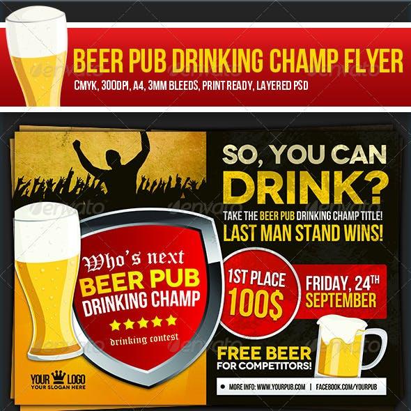 Beer Pub Drinking Champ Flyer