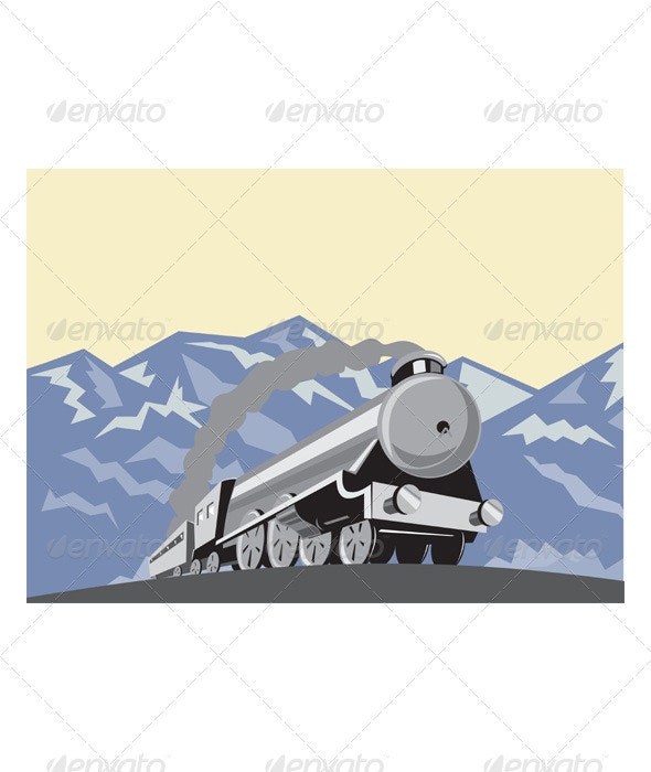 Steam Train Locomotive Mountains Retro - Man-made Objects Objects