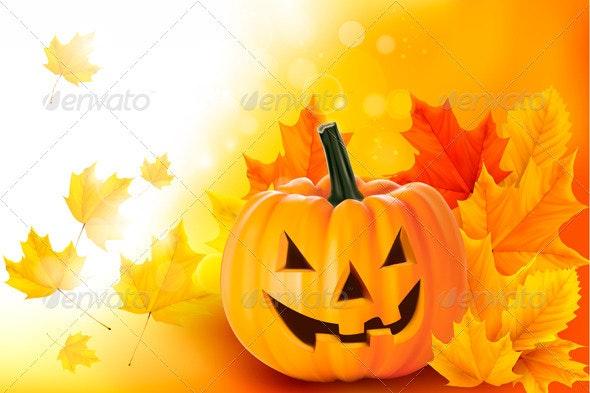 Scary Halloween pumpkin with leaves  Vector  - Halloween Seasons/Holidays