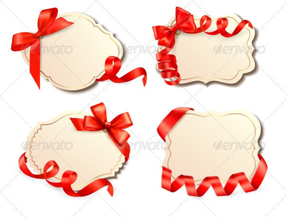 Set of old cards with red gift bows with ribbons - Borders Decorative