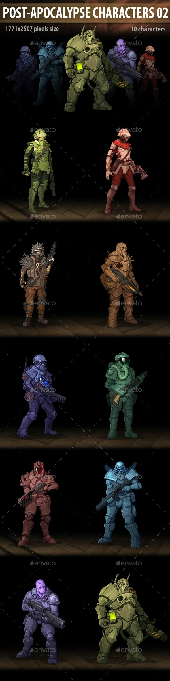 Post Apocalypse Characters 02 - Miscellaneous Game Assets