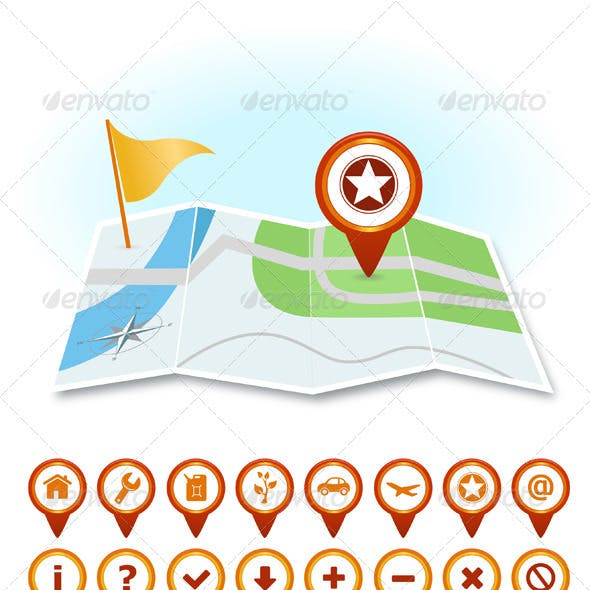 Map With Markers And GPS Icons