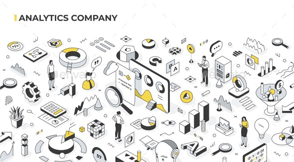 Analytics Company Isometric Illustration - Concepts Business