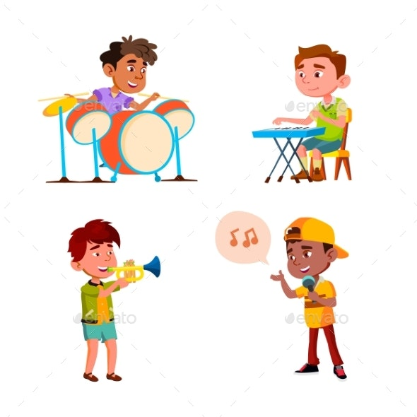 Kids Boys Playing In Music Orchestra Set Vector - People Characters