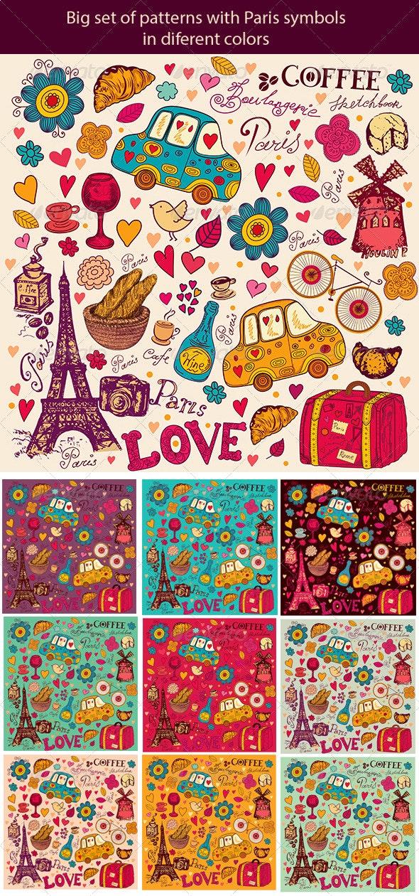 Set of Paris symbols - Decorative Vectors