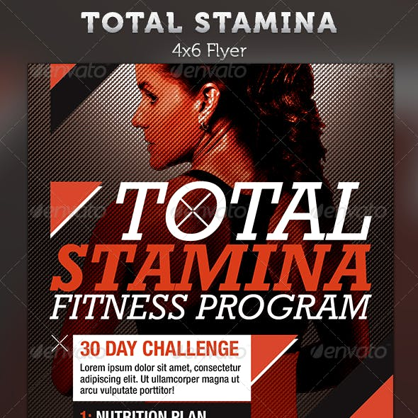 Total Stamina: 4x6 Fitness Flyer Template
