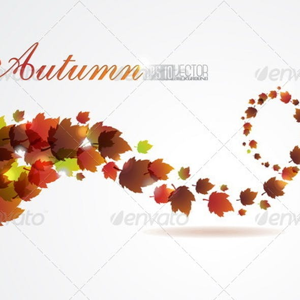 Abstract autumn vector background with fly leafs