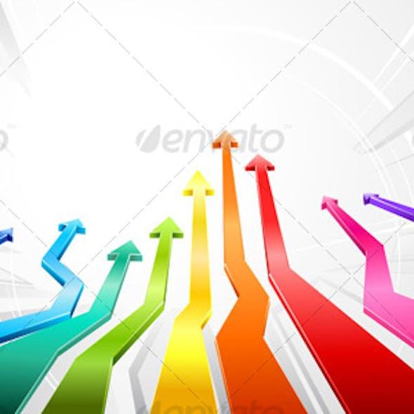 Rainbow glossy 3d arrows