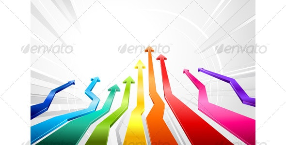 Rainbow glossy 3d arrows - Backgrounds Decorative