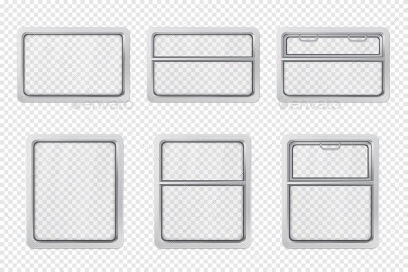 Train Interior Windows Realistic Vector Set - Objects Vectors
