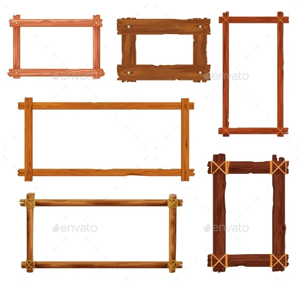 Cartoon Wooden Frames or Borders with Brown Boards - Man-made Objects Objects
