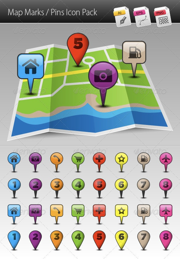 Map Marks / Pins Icon Pack - Web Icons