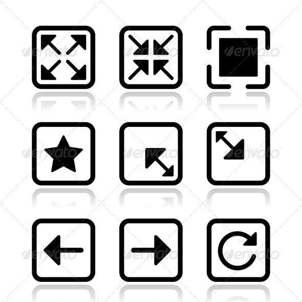 Website screen icons set - full screen, minimize,