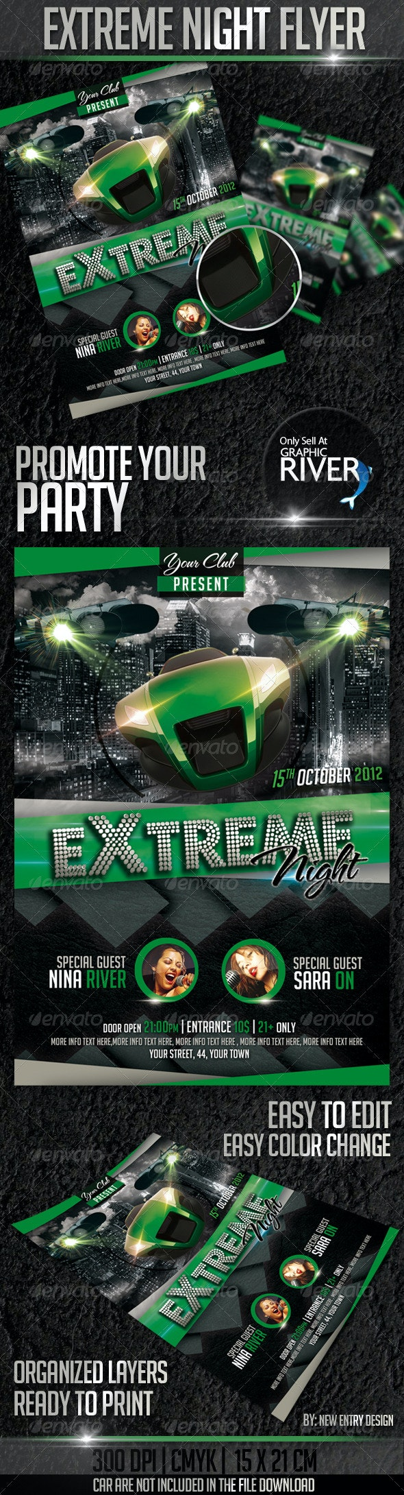 Extreme Night Flyer Template - Clubs & Parties Events