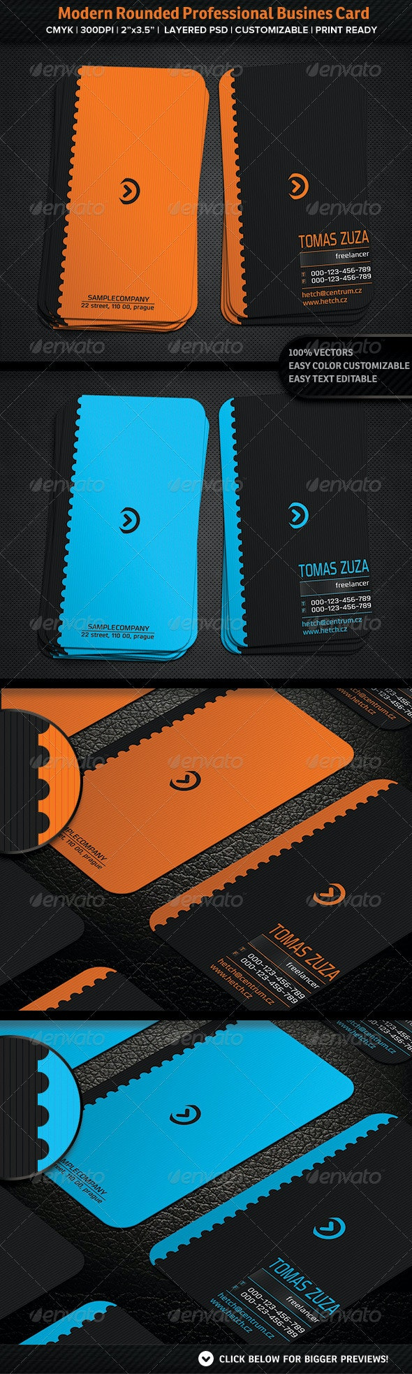 Modern Rounded Professional Busines Card - Creative Business Cards