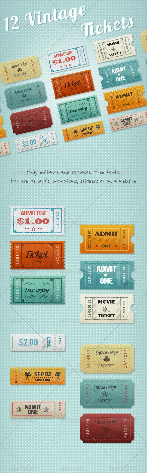 12 Vintage Event Cinema Tickets - Badges & Stickers Web Elements