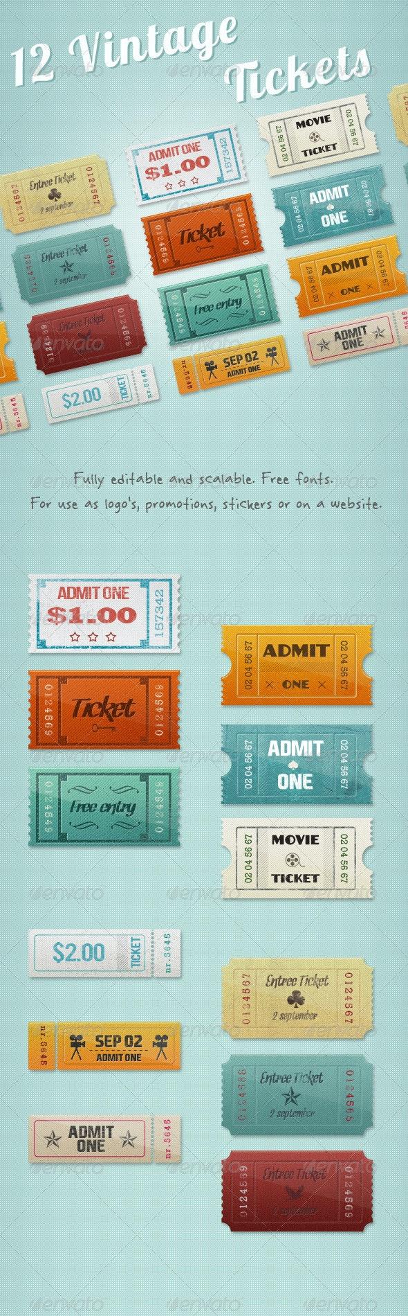 12 Vintage Event Cinema Tickets - Badges & Stickers Web Elements