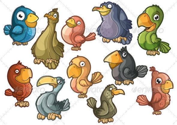 Lovely colorful birds. Isolated - Characters Vectors
