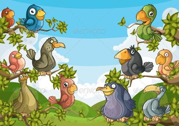 Birds in the trees - Characters Vectors