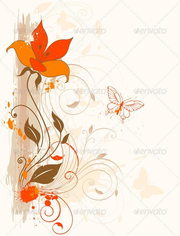 Orange Flower - Flourishes / Swirls Decorative