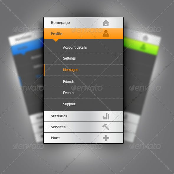 User Interface Vertical Navigation