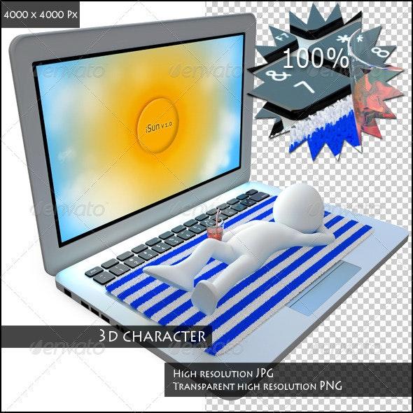 Man Sunbathing on Top of a Huge Laptop - Characters 3D Renders