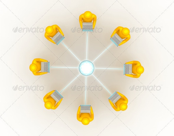 Laptop Network Connection Top View - Characters 3D Renders
