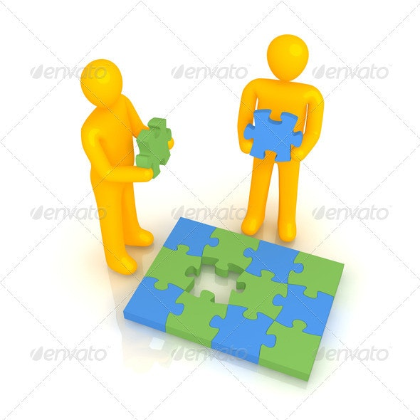 Two Men Solving Puzzle - Characters 3D Renders