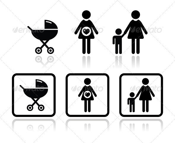 Baby icons set - carriage, pregnant woman, family - Web Elements Vectors