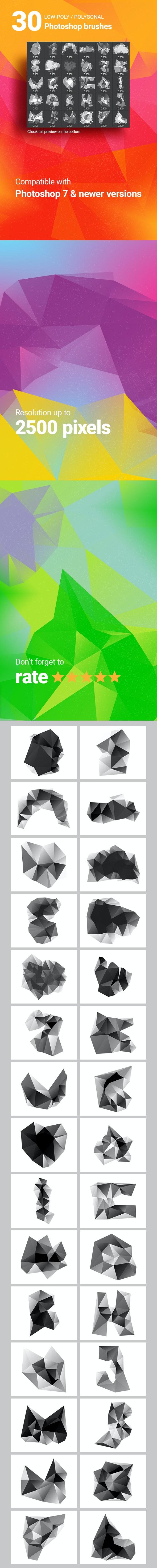 30 Low-Poly / Polygonal / Geometrical Photoshop Brushes #5 - Brushes Photoshop