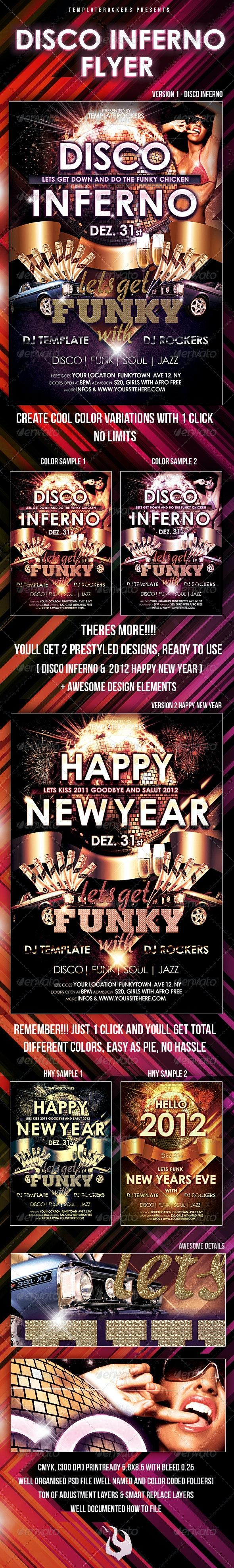 Disco Inferno, Happy New Year Flyer 2 Versions  - Clubs & Parties Events