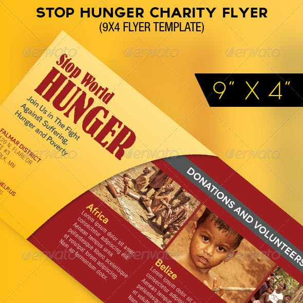 Stop Hunger Charity Organization Flyer Template