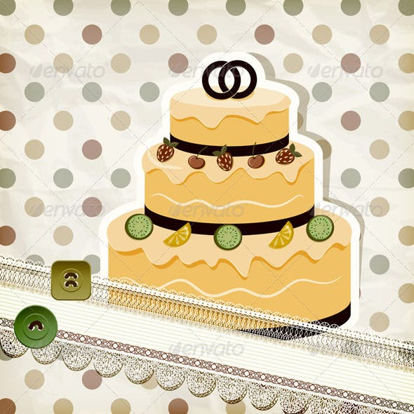 Wedding Cake on Retro Scrapbook
