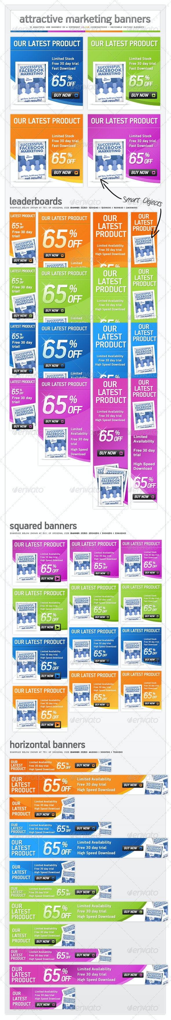 Online Marketing Pack - Web Banner Ads - Banners & Ads Web Elements
