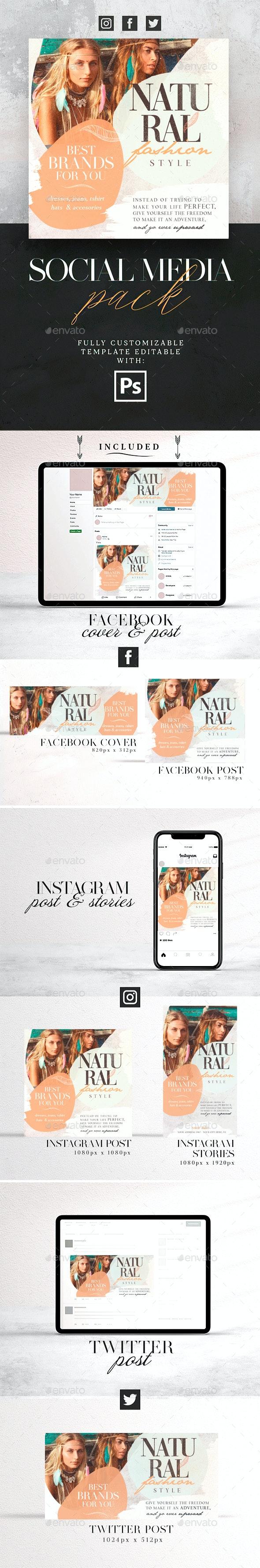 Natural Fashion Style Social Media Pack - Social Media Web Elements