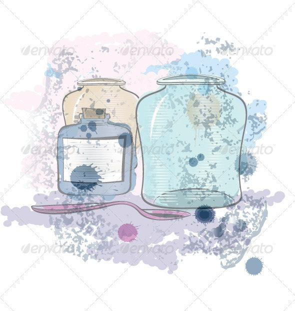 Water color jars and spoon vector - Objects Vectors
