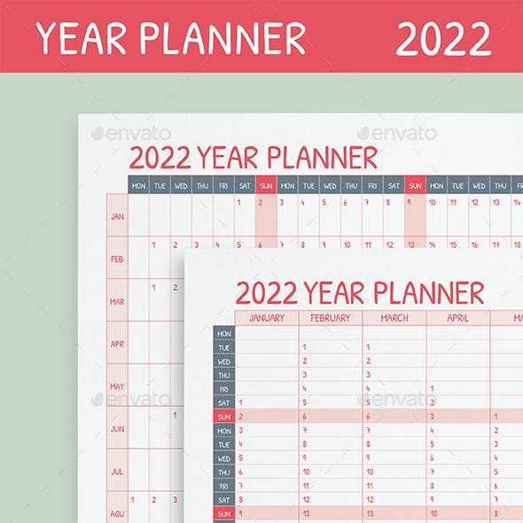 2022 Yearly Wall Planner
