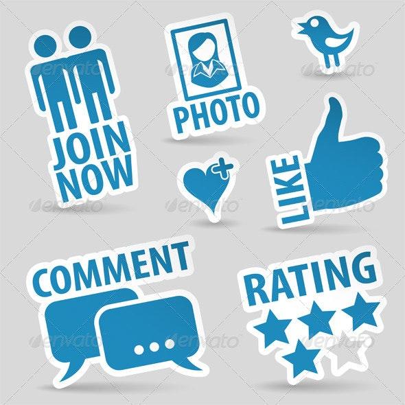 Set Social Media Icons - Communications Technology