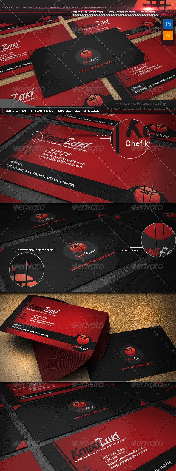 Oishii Food Business Card  - Industry Specific Business Cards