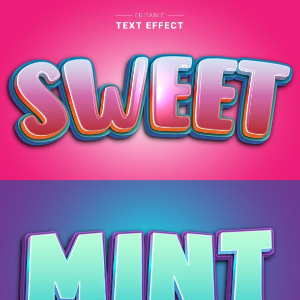 """This is Editable """"Modern 3D Cartoon Text Effects"""" for Illustrator."""