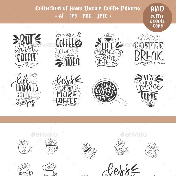 Set of hand drawn coffee phrases