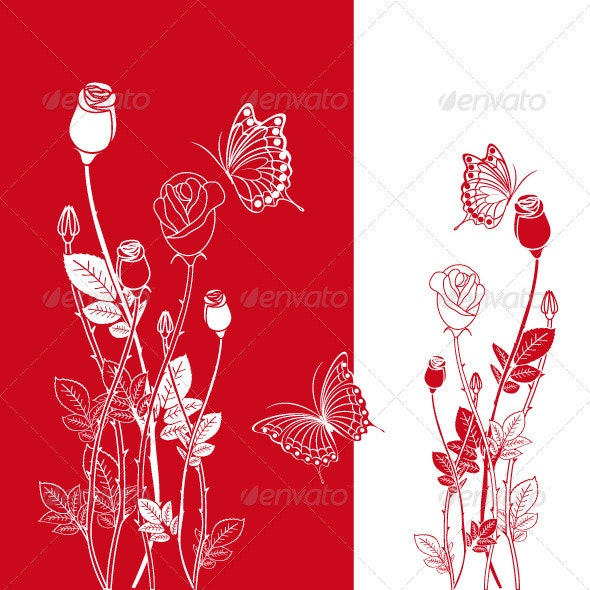 Red Rose with Butterfly - Flowers & Plants Nature
