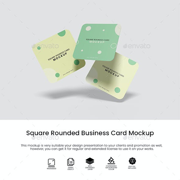 Square Rounded Business Card Mockup