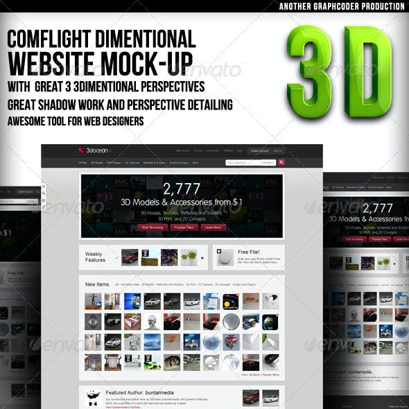Comflight Dimensional Web Mock-up (3 set)
