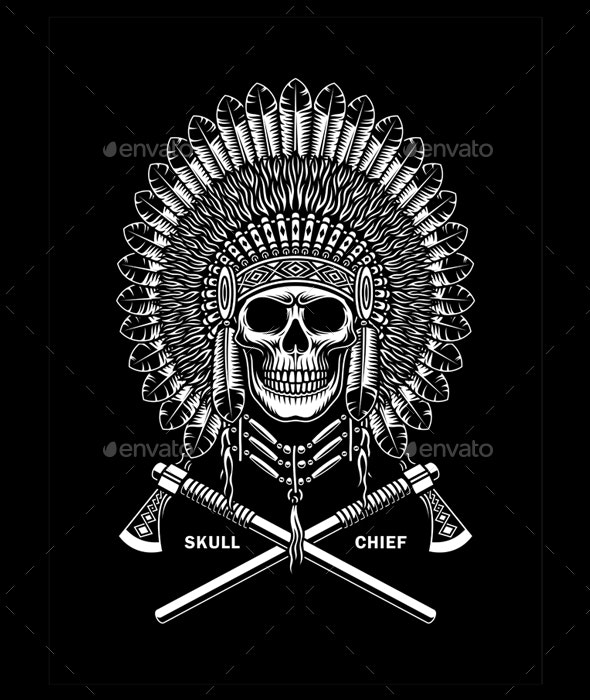 American Indian Chief Skull With Crossed Tomahawks On Black - Tattoos Vectors