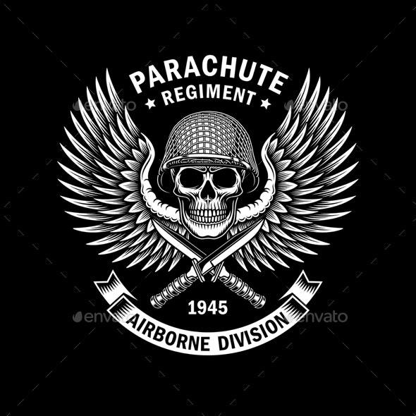 Military Skull Emblem Vector Graphic On Black - Tattoos Vectors